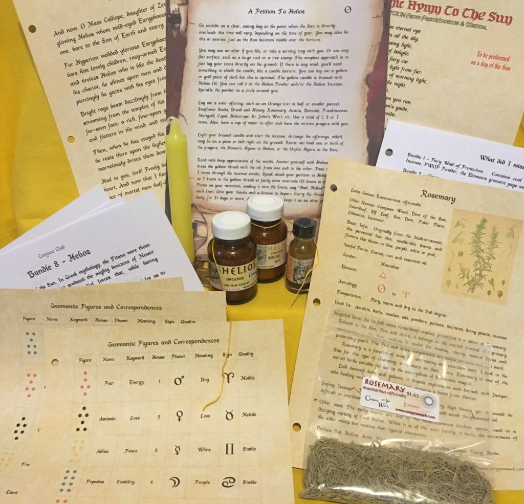 Conjure Club, Helios Bundle, monthly subscription for Conjure Work supplies